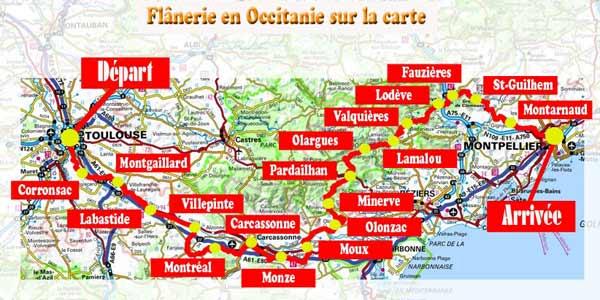 Flânerie en Occitanie sur la carte