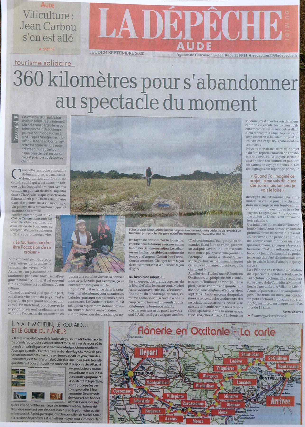 Article de Flânerie en Occitanie dans la Dépêche du midi