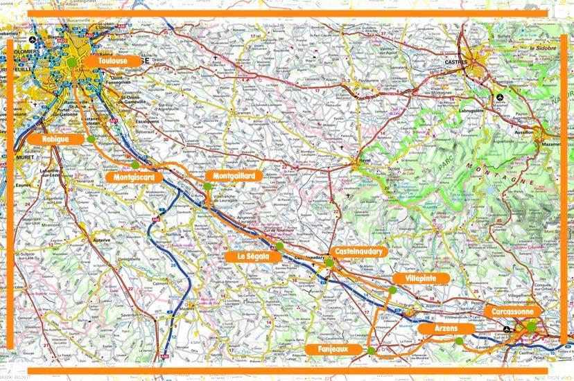 La carte  de Toulouse à Carcassonne
