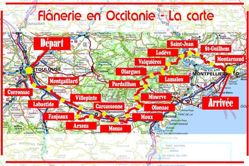 Flânerie en Occitanie - La carte